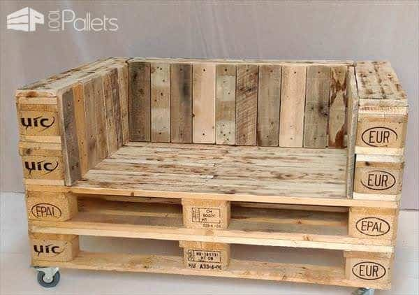 Pallet Armchair on Casters Pallet Benches, Pallet Chairs & Stools