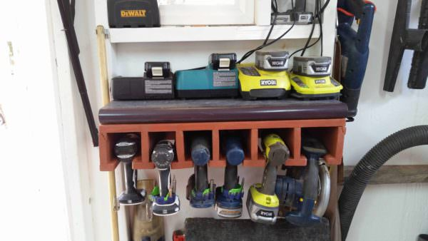 Cordless Tool Dock Made Out Of Repurposed Pallet Pallet Shelves & Pallet Coat Hangers