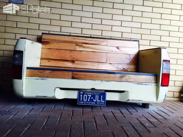 Old Car Parts and Pallets Upcycled Into a Beautiful Bench Pallet Benches, Pallet Chairs & Stools