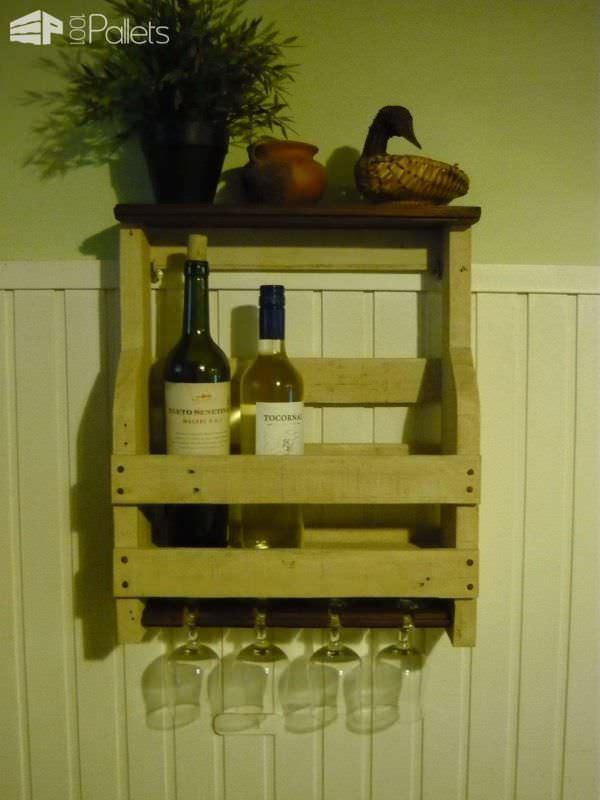 Porta Botellas De Vino Y Copas / Pallet Wine Rack Pallet Shelves & Pallet Coat Hangers