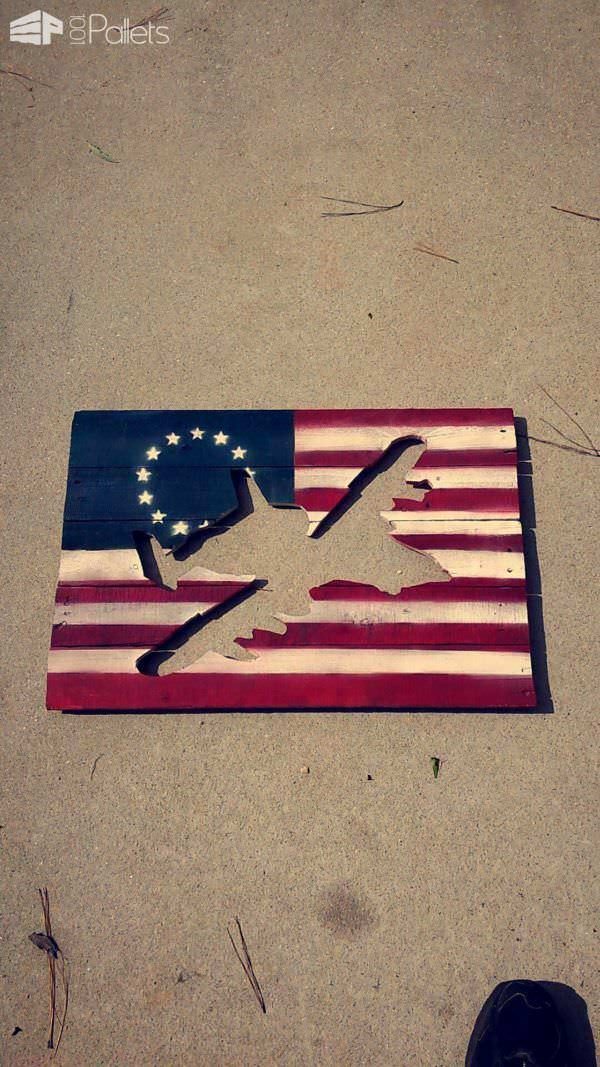 A-10 Warthog Airframe Pallet Flag Pallet Wall Decor & Pallet Painting