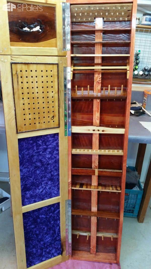 Jewelry Pallet Armoire – Low Profile, Wall-hung Pallet Furniture