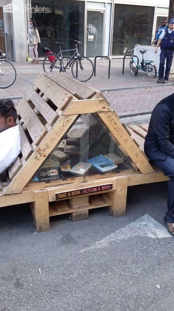 Boulevard in Brussels Reborn as a Pedestrian Zone With Ephemeral Pallet Furniture Pallet Bookcases & Bookshelves