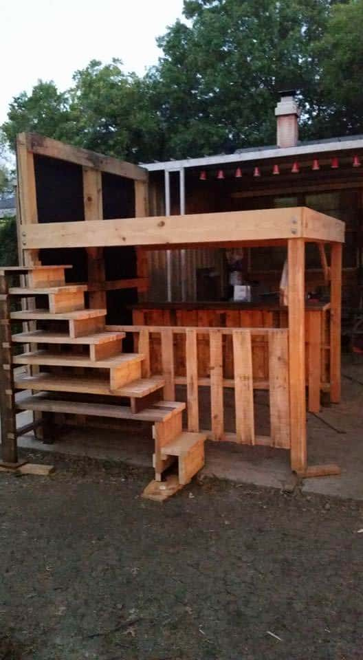 King Loft Pallet Bed With Stairs Pallet Beds, Pallet Headboards & Frames