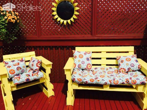 Patio & Fire Pit Furniture Out of 14 Repurposed Pallets Pallet Benches, Pallet Chairs & Stools
