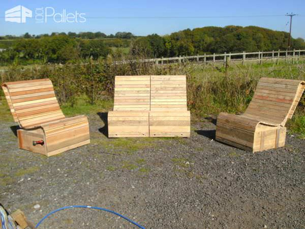 Pallet Wood Easy Lounger 3 Piece Suite Pallet Benches, Pallet Chairs & Stools