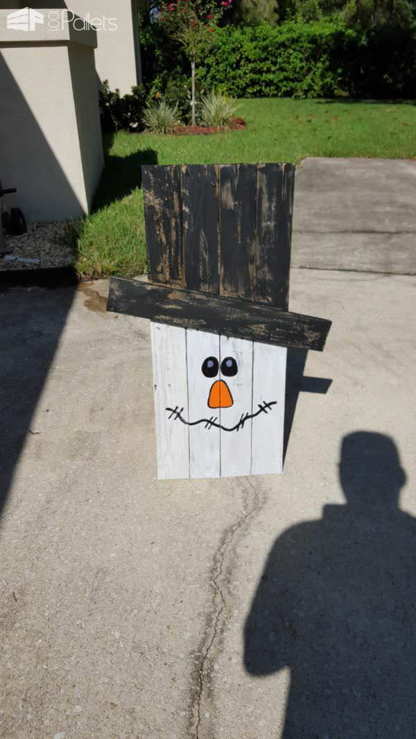 Fall Decor Project: Pallet Snowman from Discarded Pallets Pallet Wall Decor & Pallet Painting