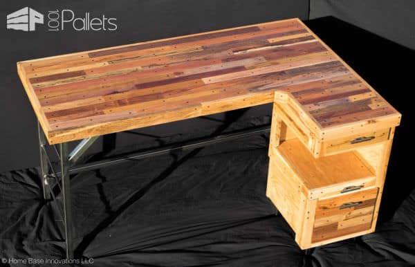Industrial Standing Executive Desk From Repurposed Pallets Pallet Desks & Pallet Tables
