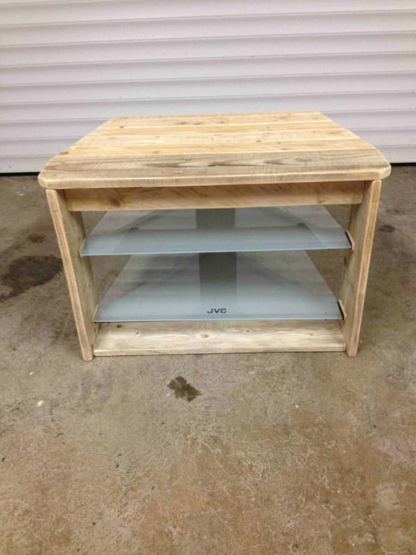Pallet TV Stand With Glass Shelves Pallet TV Stands & Racks