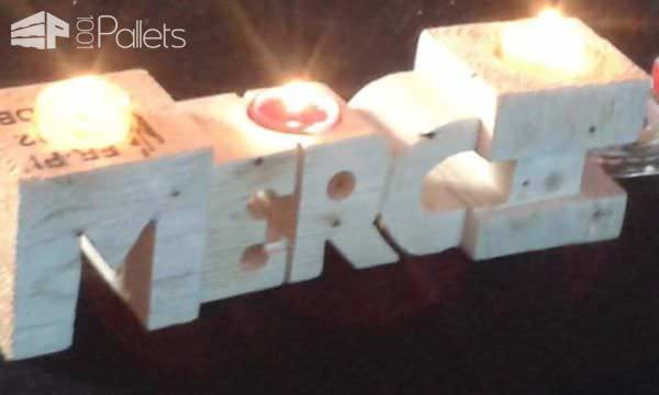 Candlestick in the Form of Letters Made out of Pallet Blocks Pallet Candle Holders Pallet Lamps & Lights