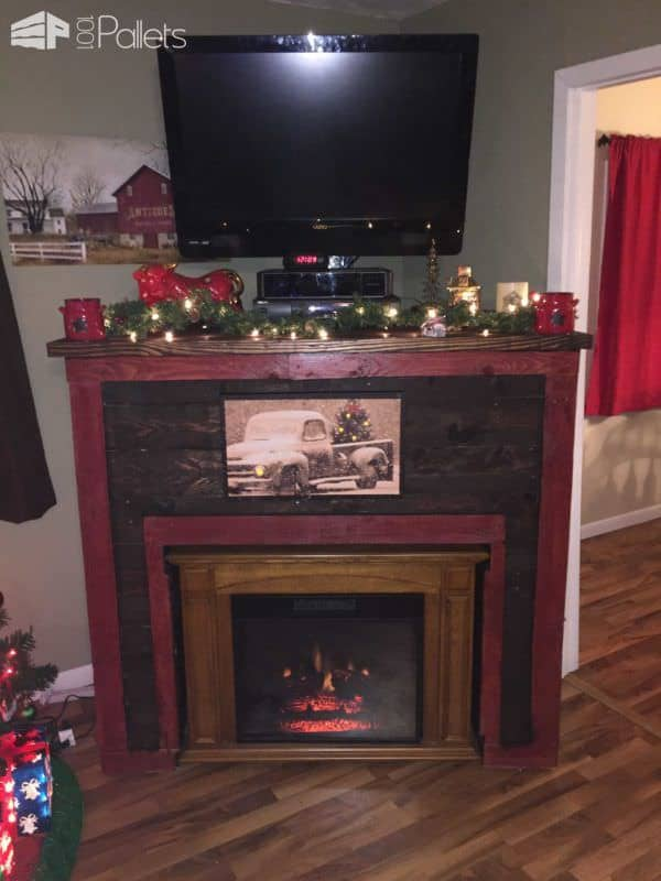 Entertainment Tv Stand & Faux Fireplace From Recycled Pallets Pallet TV Stands & Racks