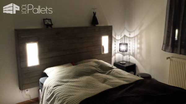 My Pallet Headboard With Lights & Electric Outlet Pallet Beds, Pallet Headboards & Frames