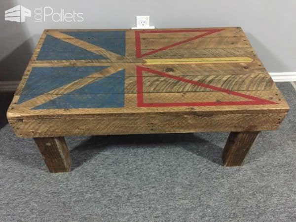 Newfoundland Flag Coffee Table From Pallet Wood Pallet Coffee Tables