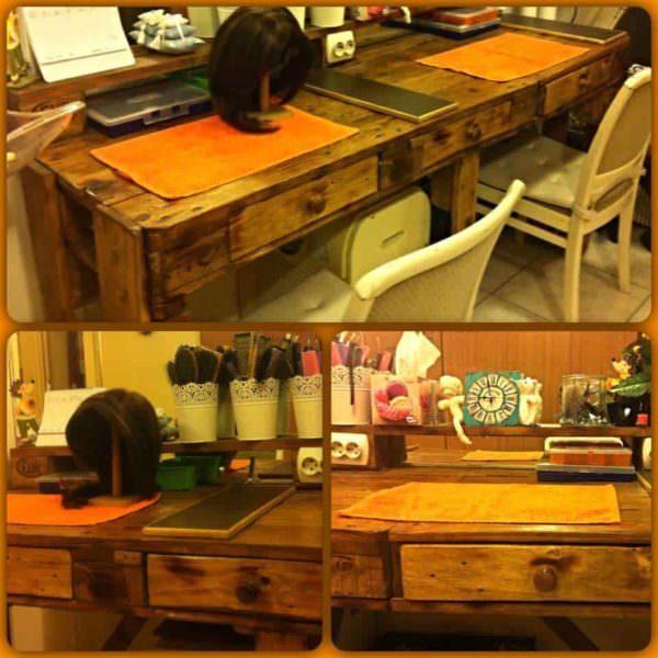 Pallet Hairdresser's Table Pallet Desks & Pallet Tables