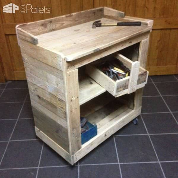 Working Trolley & Toolbox Made From Pallet Wood Pallet Cabinets & Wardrobes