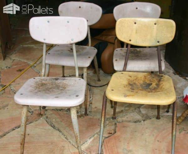 How I Reused Pallet Boards to Refurbish Vintage School Chairs Pallet Benches, Pallet Chairs & Stools