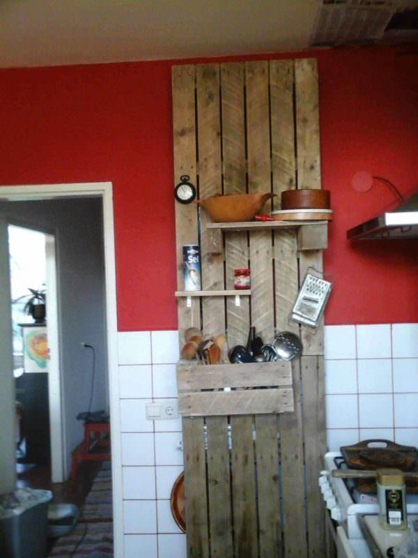 Kitchen Cupboard Made By Roel Pallet Shelves & Pallet Coat Hangers