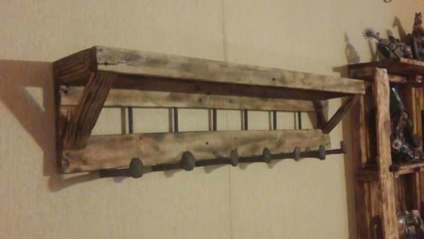 Pallet Coat Rack With Shelf Pallet Shelves & Pallet Coat Hangers