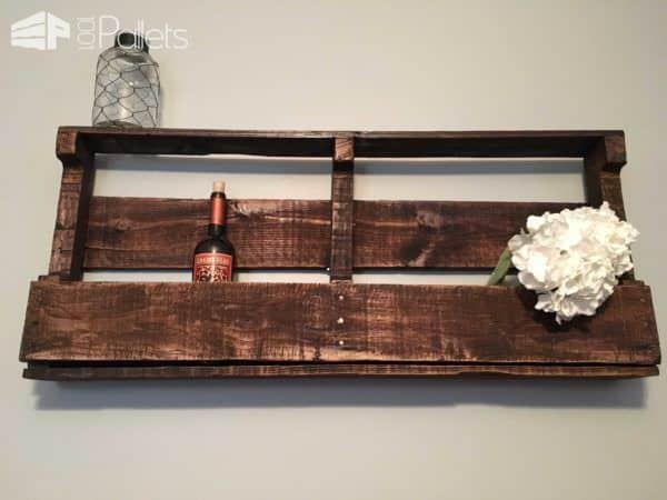 Rustic Pallet Wine Rack For 10 Bottles & 7 Glasses Pallet Shelves & Pallet Coat Hangers