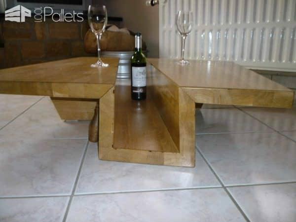 Table Basse Chêne Massif Lamellé-collé / Solid Glulam Oak Coffee Table Pallet Coffee Tables