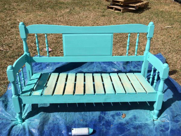 Garden Bench from a Recycled Headboard & Pallets Pallet Benches, Pallet Chairs & Stools