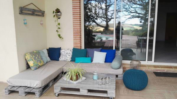 3 Pallets Lounge with Its Coffee Table / Canapé  Avec Sa Table Basse Lounges & Garden Sets Pallet Sofas & Couches