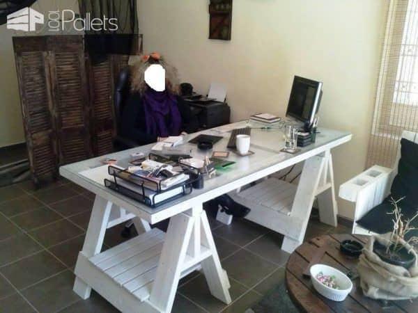 Office Desk From an Old Door & Pallets Pallet Desks & Pallet Tables
