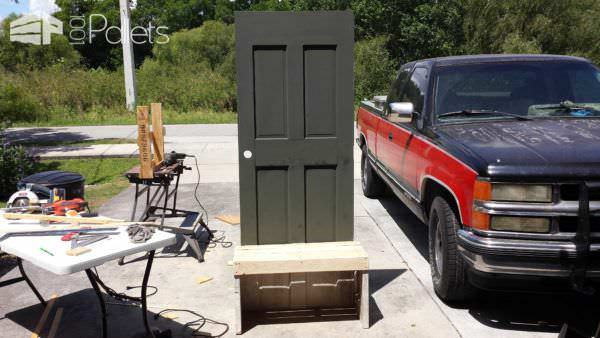 Old Repurposed Door with Pallet Wood Into Entrance Seat Pallet Furniture