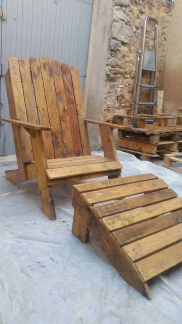 Pallet Adirondack Chair Lounges & Garden Sets Pallet Benches, Pallet Chairs & Stools
