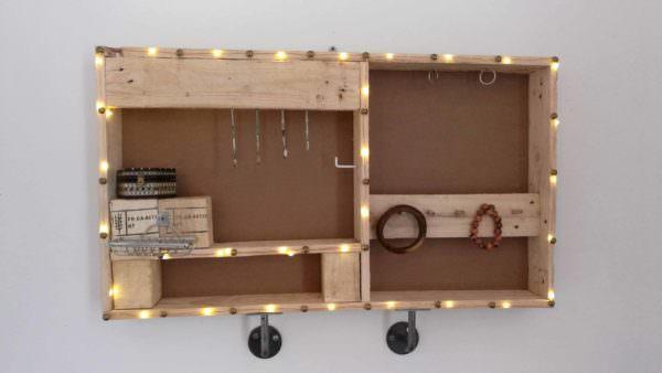Industrial Style Jewel Holder from Pallets Pallet Shelves & Pallet Coat Hangers