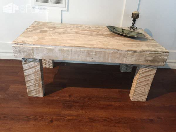 One Pallet Rustic White Coffee Table Pallet Coffee Tables