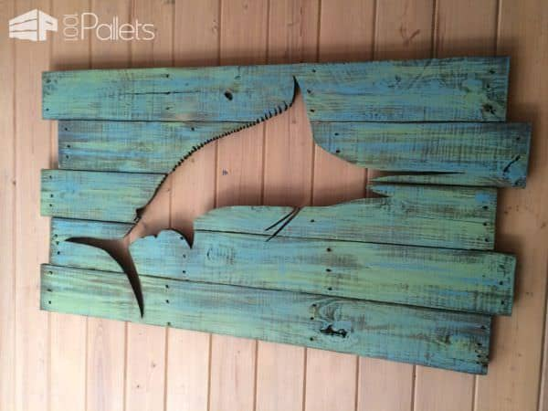 Pallet Marlin Wall Art with Led Lighting Pallet Wall Decor & Pallet Painting