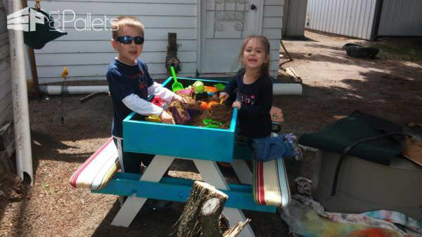Kids Pallet Picnic/Sand Table Fun Pallet Crafts for Kids Pallet Benches, Pallet Chairs & Stools Pallet Desks & Pallet Tables