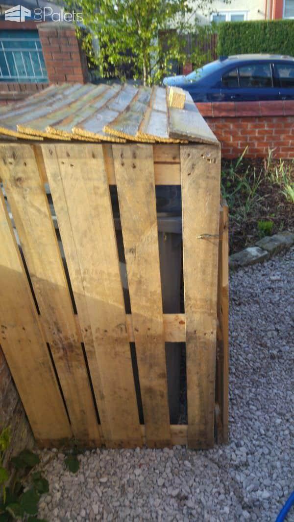 Pallet Garbage Bin Storage Shed Pallet Sheds, Cabins, Huts & Playhouses