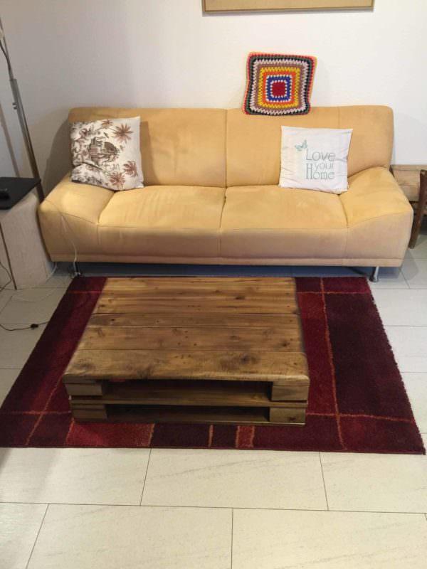 Euro Pallet Walnut Coffee Table / Tavolino Con Paletta Euro in Noce Pallet Coffee Tables