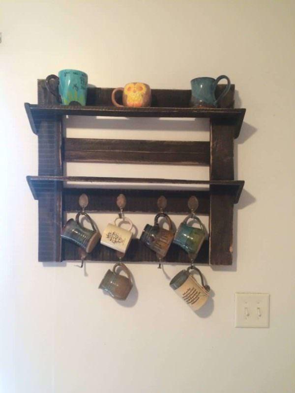 Pallet Coffee Cup Holder Pallet Shelves & Pallet Coat Hangers