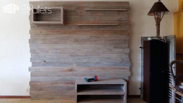 Pallet Entertainment Center Wall / Meuble Tv En Palette Pallet TV Stands & Racks