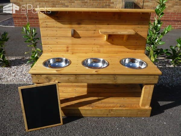 3-bowl Pallet Mud Kitchen with Removeable Blackboard Fun Pallet Crafts for Kids Pallet Desks & Pallet Tables