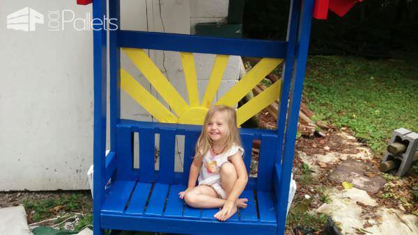 A Wee Pallet Bench for a Wee Niece Lounges & Garden Sets Pallet Benches, Pallet Chairs & Stools