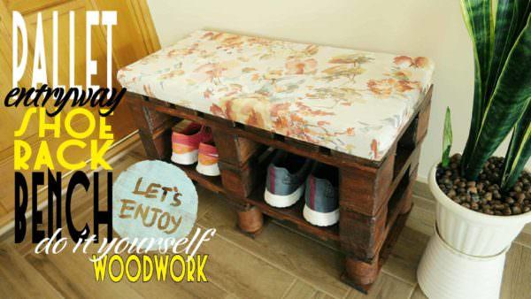 Fun Diy Pallet Bench/Shoe Rack DIY Pallet Video Tutorials Pallet Benches, Pallet Chairs & Stools