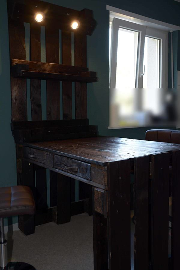 Pallet Kitchen Table with Drawers and Shelf Pallet Desks & Pallet Tables Pallet Shelves & Pallet Coat Hangers
