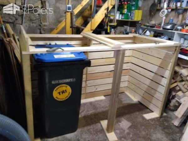 Stylish Pallet Trash/Recycling Bin Shed – Cache Poubelle Pallet Boxes & Chests Pallet Sheds, Cabins, Huts & Playhouses