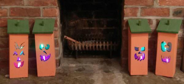 Adorable Halloween Pumpkin Light Quartet Fun Pallet Crafts for Kids Pallet Lamps & Lights
