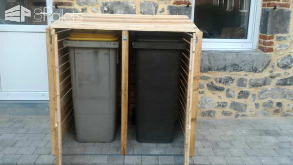 Beautifying Pallet Trash Bin Cabinet / Armoire Cache Poubelles Pallet Sheds, Cabins, Huts & Playhouses