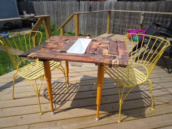 Crazy Quilt Style Pallet Dining Table Pallet Desks & Pallet Tables