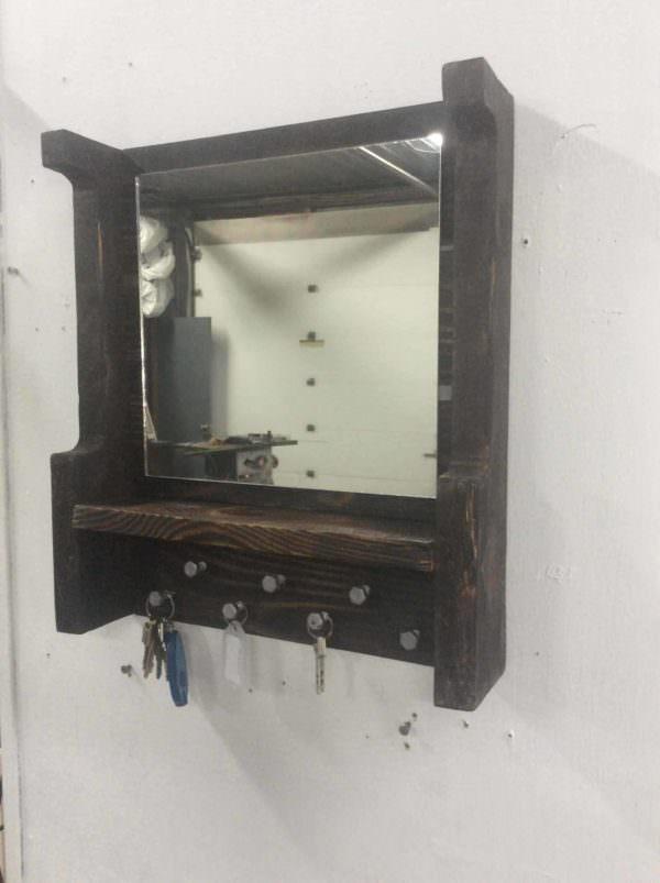 Pallet Mirrored Key Holder/Shelf Pallet Shelves & Pallet Coat Hangers