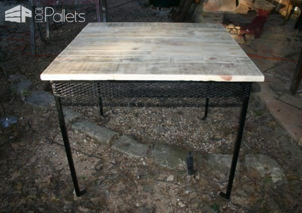 Rescued Rusty Table Into Gorgeous Pallet Table Set Pallet Benches, Pallet Chairs & Stools Pallet Desks & Pallet Tables