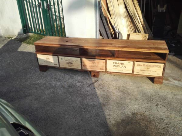 Stylish Wine Crate Storage Tv Stand Pallet TV Stands & Racks