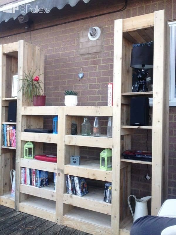 Beautiful Paired Pallet Shelves Entertainment Center Pallet Cabinets & Wardrobes