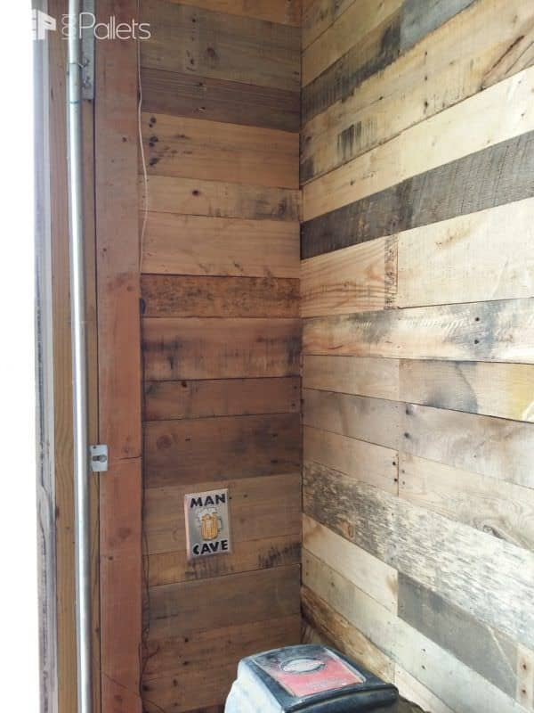 Garage Transformed Into Super Pallet Garage! Pallet Wall Decor & Pallet Painting Pallet Walls & Pallet Doors